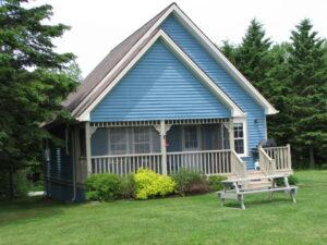 blue a-frame cottage